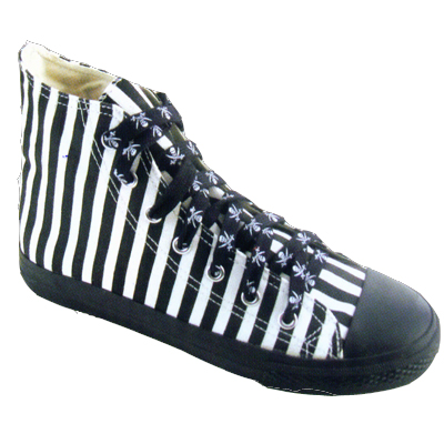 "Turnschuh ""Chuckstyle"" black/white striped"
